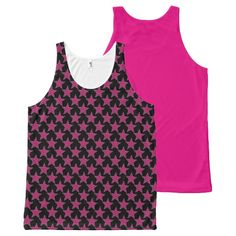 Hot Pink and Black Striped Stars Tank Top All-Over Print Tank Top Tank Tops