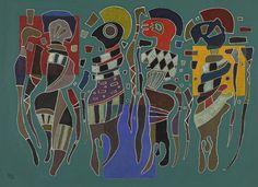 Wassily Kandinsky 4 Figuren Auf 3 Quadraten Figures on 3 Squares), 1943 Wassily Kandinsky, Claude Monet, Art Moderne, Square, Equine Art, Russian Art, Art Plastique, Vincent Van Gogh, Les Oeuvres