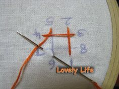 Lovely Life...: Kutchwork Tutorial - The Basic Diamond 3..Insert the needle at 6 and bring it up at 7. (The frame is rotated and needle under the thread)  (Third side of the motif is formed)