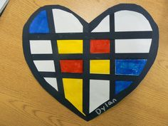 Mrs. T's First Grade Class: Mondrian Style Hearts...do this with 1/2 grade. Choice between heart and square