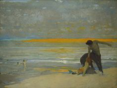 Arthur Frank Mathews (1860-1945), Centaur and Mermaid on a Beach at Sunset