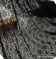 "black thin rose embroidery lace fabric clothes fabric 59""width 1 yard #Handmade"