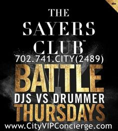 Battle Thursday at The Sayers Club Las Vegas Thursday October 30th. Contact 702.741.2489 City VIP Concierge for Table and Bottle Service, Tickets and the Best of Las Vegas Nightclub VIP Services Halloween Weekend. #SayersClubLasVegas #VegasSayersClub #VegasHalloween #LasVegasHalloween #VegasVIPServices #LasVegasVIPServices #LasVegasBottleService #VegasBottleService #VegasNightclubs #LasVegasNightClubs #CityVIPConcierge CALL OR CLICK TO BOOK…