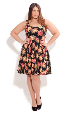 City Chic ROSE BLOOM DRESS - Plus Sized Fashion - Dress - Wedding - Engagement - Races - Formal
