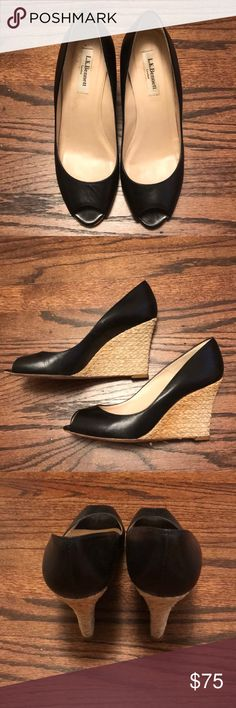 Lk Bennett Peep Toe Wedge Black LK Bennett Peep Toe Wedge Similar style to ones worn by Kate Middleton Size 39 Comfortable and in great condition LK Bennett Shoes Wedges