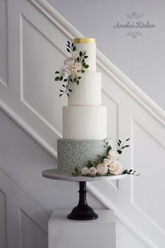 Amelie's Kitchen Jasmine stencil on a four tier cake with delicate sugar flowers Wedding Cakes With Flowers, Elegant Wedding Cakes, Beautiful Wedding Cakes, Wedding Cake Designs, Beautiful Cakes, Cake Flowers, Wedding Cake Accessories, Wedding Cake Maker, Cake Stencil