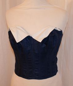 Rare Vintage 1950s navy and white bustier sun top M by OuterLimitz, £85.00