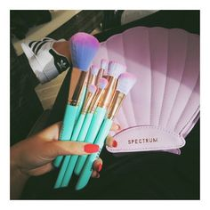Can't even deal with how beautiful these @spectrumcollections brushes are  I use @spectrumcollections brushes everyday and I LOVE them!!! Now I have a mermaid case to carry them in