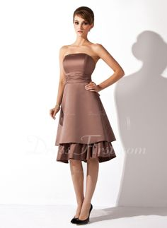 A-Line/Princess Strapless Knee-Length Satin Bridesmaid Dress With Ruffle (007000904) - DressFirst