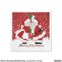 Shop Merry Christmas Mistletoe Santa Napkin created by ManCavePortal. Holiday Treats, Holiday Parties, Holiday Decor, Raffle Prizes, Christmas Napkins, Banana Milkshake, Mrs Claus, Merry Christmas, Christmas Ornaments