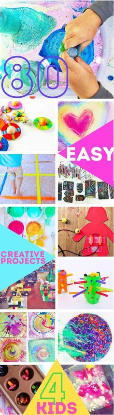 arts and crafts for kids 80 Easy Creative Projects for Kids including activities, art, crafts, science, engineering and toys! Projects perfect for kids ages Creative Activities For Kids, Creative Arts And Crafts, Craft Projects For Kids, Easy Crafts For Kids, Arts And Crafts Projects, Creative Kids, Art Activities, Art For Kids, Art Crafts