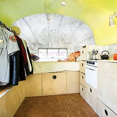 Stylish living on wheels | Airstream living: Built-in storage | Sunset.com