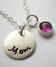 This Sterling Silver & Birthstone 'Mom' Pendant Necklace is perfect! #zulilyfinds