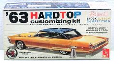 Vintage AMT 1963 Pontiac Bonneville Hardtop 1/25 Plastic Model Car Kit 6623-149…