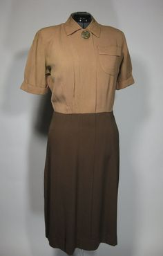 1940s two tone brown day dress. $56.00, via Etsy.