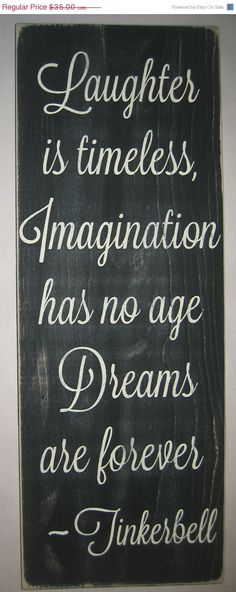 ON SALE Laughter is Timeless Imagination has by CottageSignShoppe, $29.75