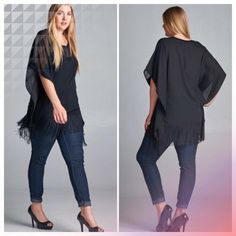 HP 10/14, 12/2SEMI SHEER BLACK FRINGE TUNIC What a fun and fashion staple to have in your closet! Semi sheer tunic with stitched sides and fringe. Sheer at neckline, very feminine. Polyester. Measurements upon request.  PLEASE DO NOT BUY THIS LISTING! I will personalize one for you. tla2 Tops Tunics