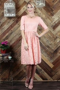 """""""Haley"""" Lace Modest Dress in Peachy Pink. Love this as an Easter dress? Or perfect as a bridesmaid dress."""