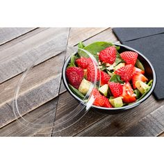 These 17.6 ounce cold salad bowls come in a 200-count box and are perfect for serving any cold foods on-the-go or in-house. Each bowl is made from premium PET plastic so they are recyclable and durable. They measure 6.3 inches in diameter and 2.4 inches high, so they are the perfect size for many creations. This bowls are also chic because they are black and modernly designed.
