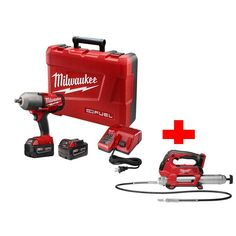Milwaukee M18 Fuel 18-Volt Lithium-Ion High Torque Impact Wrench Friction Ring Kit with Free M18 2-Speed Grease Gun (Tool-Only)