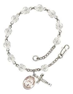 St. Jeanne Jugan Silver-Plated Rosary Bracelet with 6mm Crystal Fire Polished beads