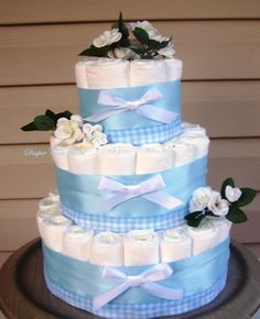 Boy Diaper Cake READY TO SHIP Blue Diaper by FromDiapers2Divas