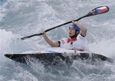 Stepanka Hilgertova of the Czech Republic competes in the heats of the K-1 women's kayak slalom at Lee Valley Whitewater Center, at the 2012 Summer Ol