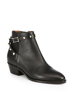 Valentino - Rockstud Pebbled Leather Biker Ankle Boots - Saks.com