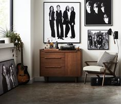 The new Crate and Barrel x The Beatles collection is just what you need. Each print represents a different era of Beatles history—making it the perfect purchase for any die-hard music fans. Rock N Roll Living Room, Rock Room, Apartment Bedroom Decor, Living Room Decor, Living Spaces, Crate And Barrel, Home Studio Music, Room Inspiration, Decoration