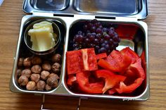 My lunch in a Planetbox Shuttle Bell Peppers Champagne Grapes Hazelnuts Cheese
