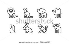 Animal Icon Symbol Zoo Set 1-8