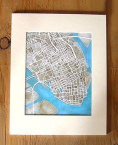Charleston, South Carolina 8x10 Print City Map Art by SummitRidge on Etsy $22