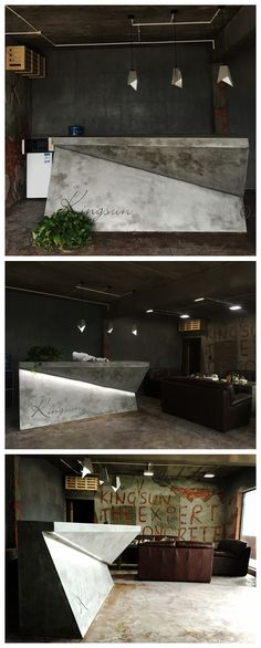 concrete reception desk. Fantastic eye-catching, interesting, bold reception!!
