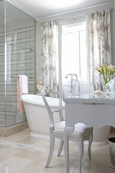 One of my favorite interior designers = Sarah Richardson - sarah 101 ensuite bathroom neutral vintage vanity