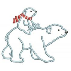 Embroidery Projects Mama Polar Bear With a Baby Bear Applique Machine Embroidery Design Digitized Pattern - Machine Embroidery Thread, Machine Embroidery Projects, Embroidery Software, Embroidery Supplies, Learn Embroidery, Embroidery Techniques, Embroidery Ideas, Beginner Embroidery, Towel Embroidery