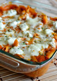 Baked_Penne  Made this recipe for a family dinner & game night. Substituted ground chicken for the ground beef.  Absolutely delicious!!
