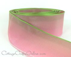 """Pink and green ombre wired edge ribbon blends and shades into dark pink, creating a range of tones which show on both sides of the ribbon.1 1/2"""" wide, with a crisp hand and a taffeta feel from the  Cottage Crafts Online shop on Etsy, where we help your ideas become creations."""