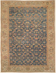 A Guide to antique Persian Sultanabad rugs from the Second Golden Age of Persian Weaving. Antique Sultanabad Carpets from Claremont Rug Company. Geometric Rug, Tribal Rug, Persian Blue, Dark Carpet, Rug Company, Persian Carpet, Antique Art, Rugs On Carpet, Antiques
