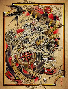 Deep by Tyler Bredeweg Old School Skull Anchor Tattoo Canvas Art Print – moodswingsonthenet