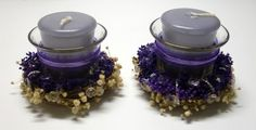 SET of TWO Glass Purple VOTIVE Holder by Meenchie82 on Etsy
