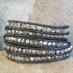 Silver gray sparkly multi-color metallic glass beads on dark gunmetal gray leather multi wrap bracelet, boho wrap bracelet,  5 wrap bracelet...
