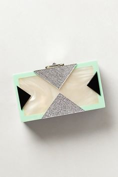 Art Deco Mother-of-Pearl Box Clutch with black, mint, and silver accents