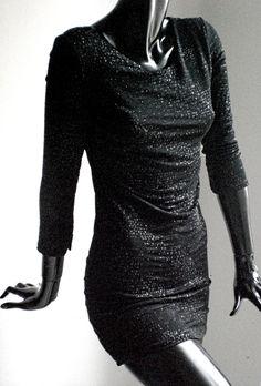 Abito nero brillantinato manica lunga ... c577cf1a18a