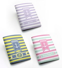3db815be7 nautical anchor sailing striped pu leather passport holder case