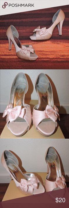 Davids Bridal Petal Pink peep toe Petal pink peep toe heels from Davids Bridal, worn once Shoes Heels