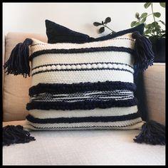 Handwoven by Prairieknotco. Navy and cream Weaving Art, Tapestry Weaving, Loom Weaving, Hand Weaving, Boho Cushions, Diy Pillows, Decorative Pillows, Throw Pillows, Boho Diy