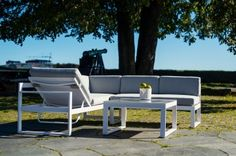 Corner Sofa And Coffee Table, Garden Furniture, Outdoor Furniture Sets, Dover White, Outdoor Sofa, Outdoor Decor, White Gardens, Atrium, White Light