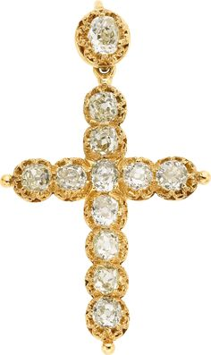Victorian Diamond, Gold Pendant-Brooch The pendant-brooch features mine-cut diamonds weighing a total of - Available at 2013 April 29 Jewelry Signature. Pendant Set, Gold Pendant, Cross Pendant, Diamond Cross, Gold Cross, Cross Jewelry, Cross Necklaces, Antique Jewelry, Vintage Jewelry