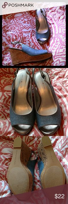 """Bandolino wedge sandals 3"""" wedge sandals. Only worn once! Light Jean color with silver sparkle and cork bottom Bandolino Shoes Sandals"""