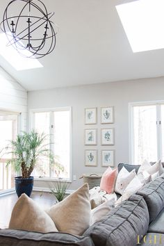 Our Open Concept Living Room with Vaulted Ceilings, wall art, greenery, palm tree, skylights, living room decor, framed art gallery wall